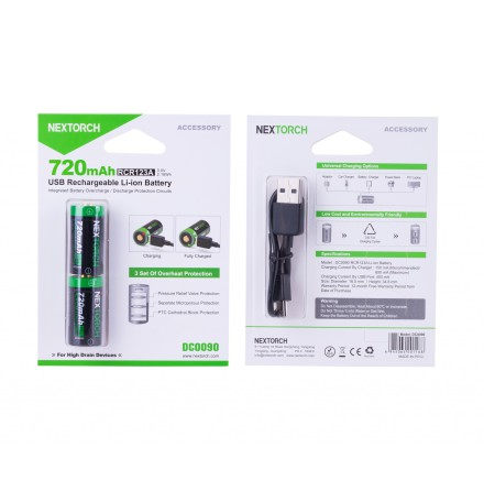 Nextorch USB uppladdningsbart CR123A 2 pack