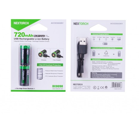 Nextorch USB uppladdningsbart CR123A 2 pack