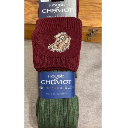 House of Cheviot Lomond Sock, broderat djurmotiv.